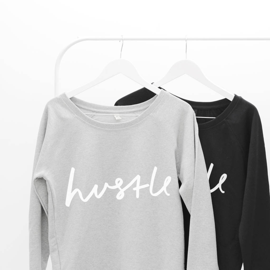 hustle scoop neck women's sweater by letter clothing company ...