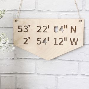 Wooden Coordinates Wall Sign - home accessories