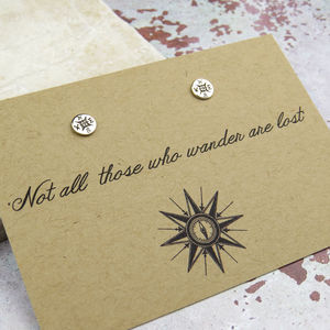 'Not All Who Wander…'Compass Earrings - earrings