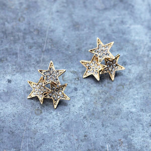 Vintage Style Diamante Star Cluster Earrings - earrings