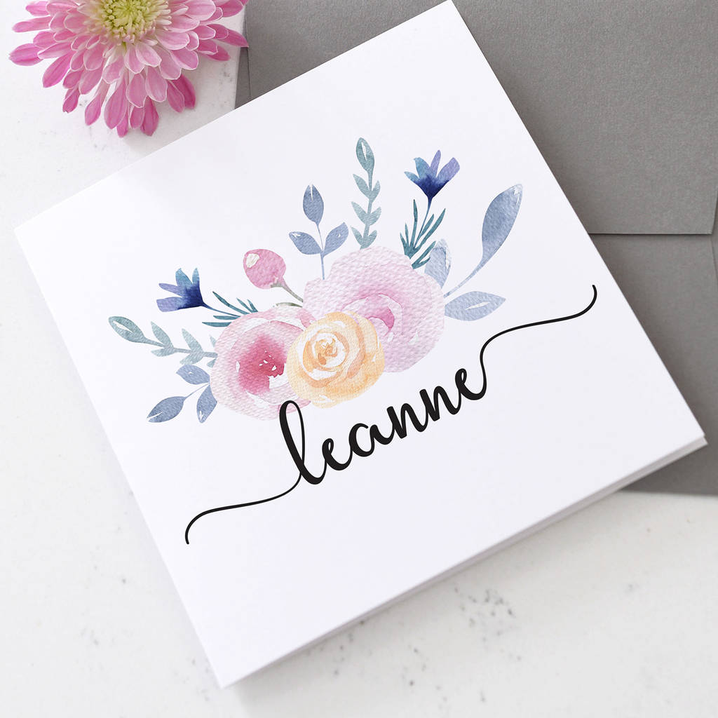 Personalised Watercolour Floral Name On Card
