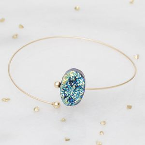Kara Personalised Gold Druzy Bangle - bracelets & bangles