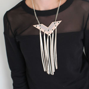 Digit Geometric Metallic Leather Tassel Necklace - necklaces & pendants