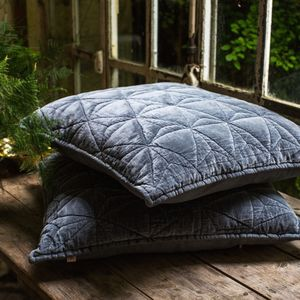 Grey Velvet Cushion - keeping cosy