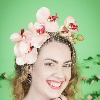 Peach Orchid Cascade Fascinator