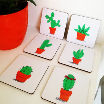 Cactus Coaster And Succulent Coaster Set Of Six