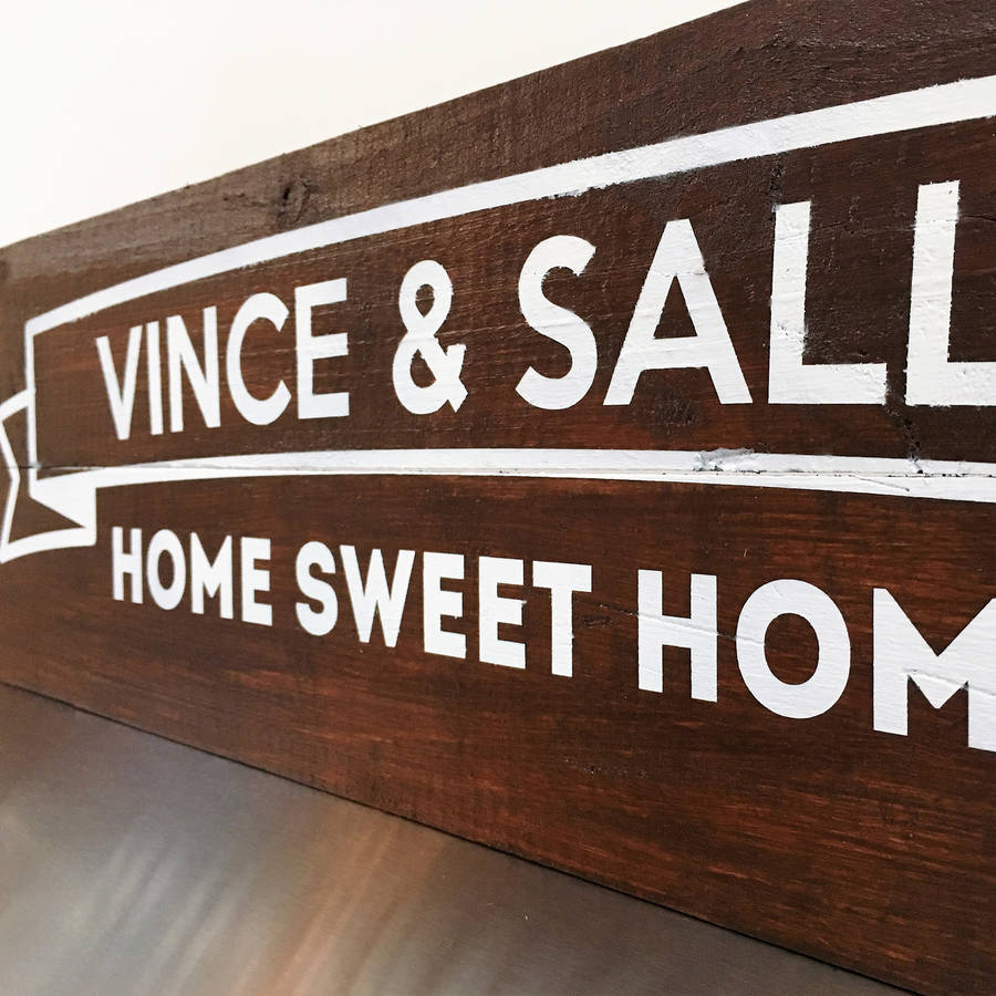 personalised 'home sweet home' wooden sign by nineteen74 ...