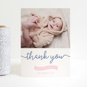 New Baby Ribbon Thank You Cards