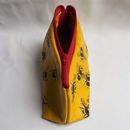 open yellow bees leather make up bag