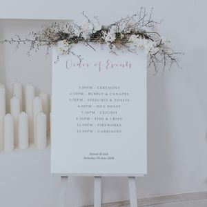 Love Story Order Of The Day Sign - outdoor wedding signs