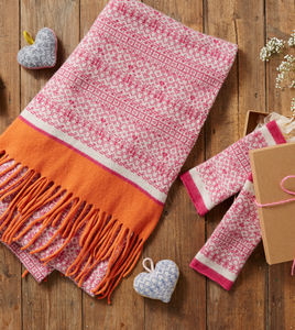 Ladies Pink Wrap And Mitten Gift Set - women's accessories
