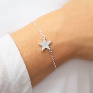 Personalised Sterling Silver Initial Star Bracelet - flower girl jewellery
