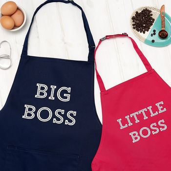 Personalised Big Boss And Little Boss Apron Set