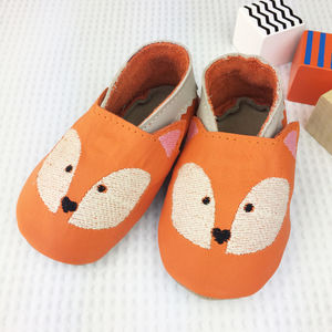 Personalised Embroidered Fox Baby Shoes - babies' slippers