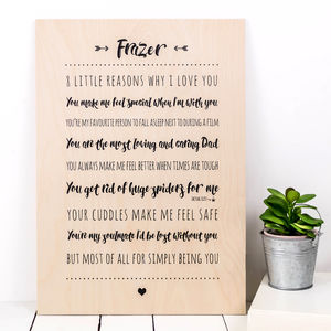 Personalised A3 Wooden 'Reasons I Love You' Print