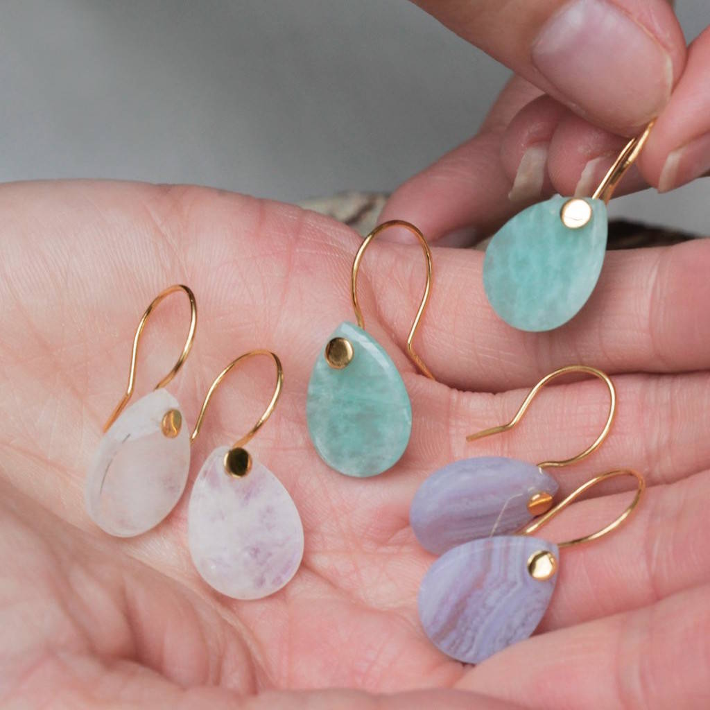 Smooth Teardrop Gemstone Earrings