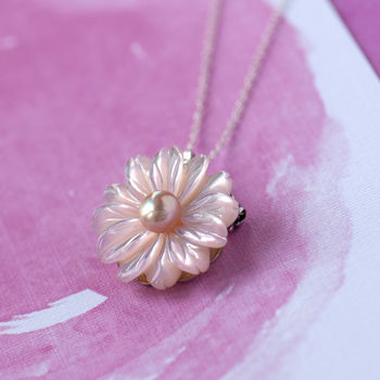 Daisy Mother Of Pearl Sterling Silver Brooch/Necklace