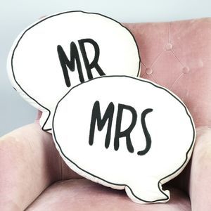 Mr And Mrs Speech Bubble Cushion - bedroom