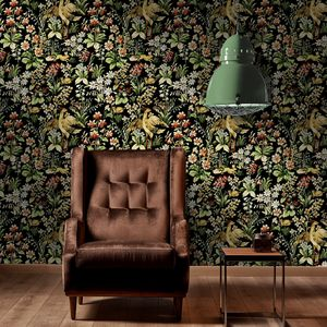Floral Tapestry Wallpaper Set Of Three Rolls - living room