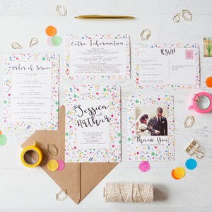 Colourful Confetti Wedding Stationery - thank you cards