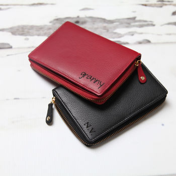 Personalised Ladies Medium Leather Wallet