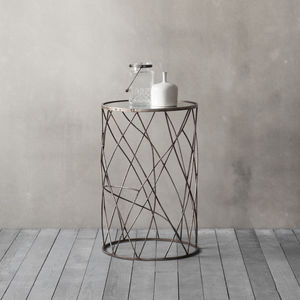 Mirror Topped Metal Side Table - side tables