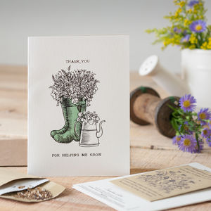 'Thank You For Helping Me Grow' Seed Card - teacher cards
