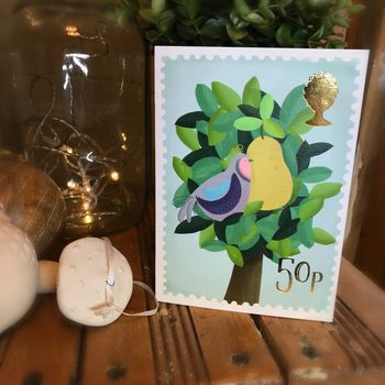 Partridge In A Pear Tree Gold Foil Christmas Card