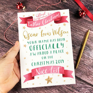 Nice List Christmas Card From The North Pole
