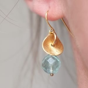 Brushed Gold Disc And Gemstone Earrings - earrings
