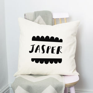 Scalloped Name Cushion