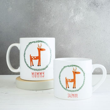 Personalised Reindeer Family Mug Set
