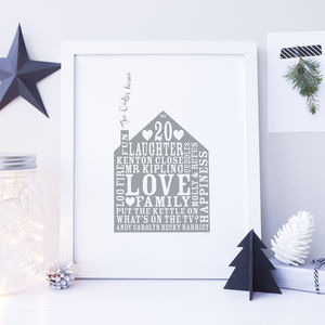 Personalised Home Gift Print - anniversary prints