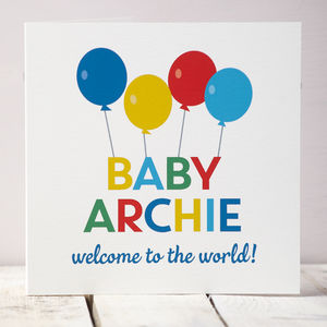 Personalised New Baby Balloons Card - new baby cards