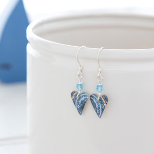 Blue Paisley Heart Earrings With Swarovski Crystal