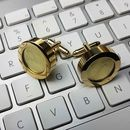 14 K Gold And Leather Cufflinks