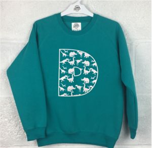 Dinosaur Pattern Personalised Initial Sweatshirt - clothing