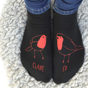 Robin Red Breasts In Love Personalised Socks - winter sale