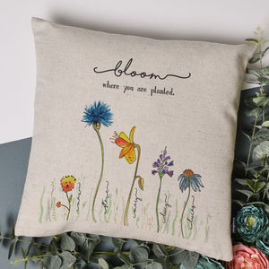 Personalised Family Flower Cushion Cover - gardener