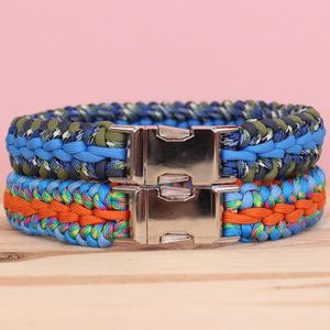 Personalised Waterfall Weave Paracord Dog Collar - dogs