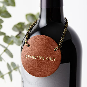Personalised Leather Bottle Tag - ribbon & wrap