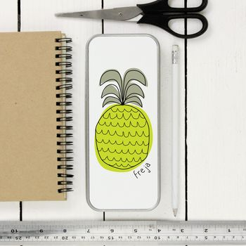 Personalised Pineapple Tin Pencil Case