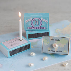 Happy 21st Birthday Greeting For Her In A Matchbox - decorative accessories