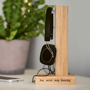Personalised Solid Oak Headphone Stand - gifts for husband or boyfriend