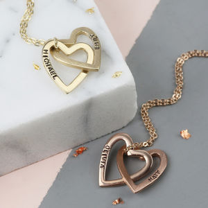 Solid Gold Interlocking Hearts Necklace - gifts for her