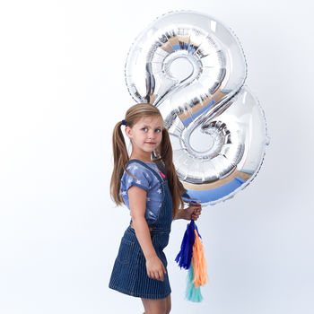 Fancy Silver Foil Number Balloon