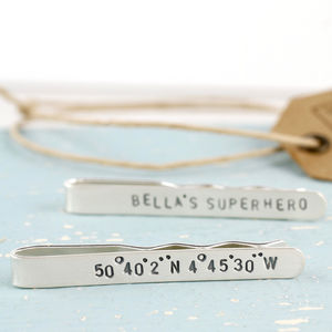 Personalised Silver Message Coordinates Tie Clip