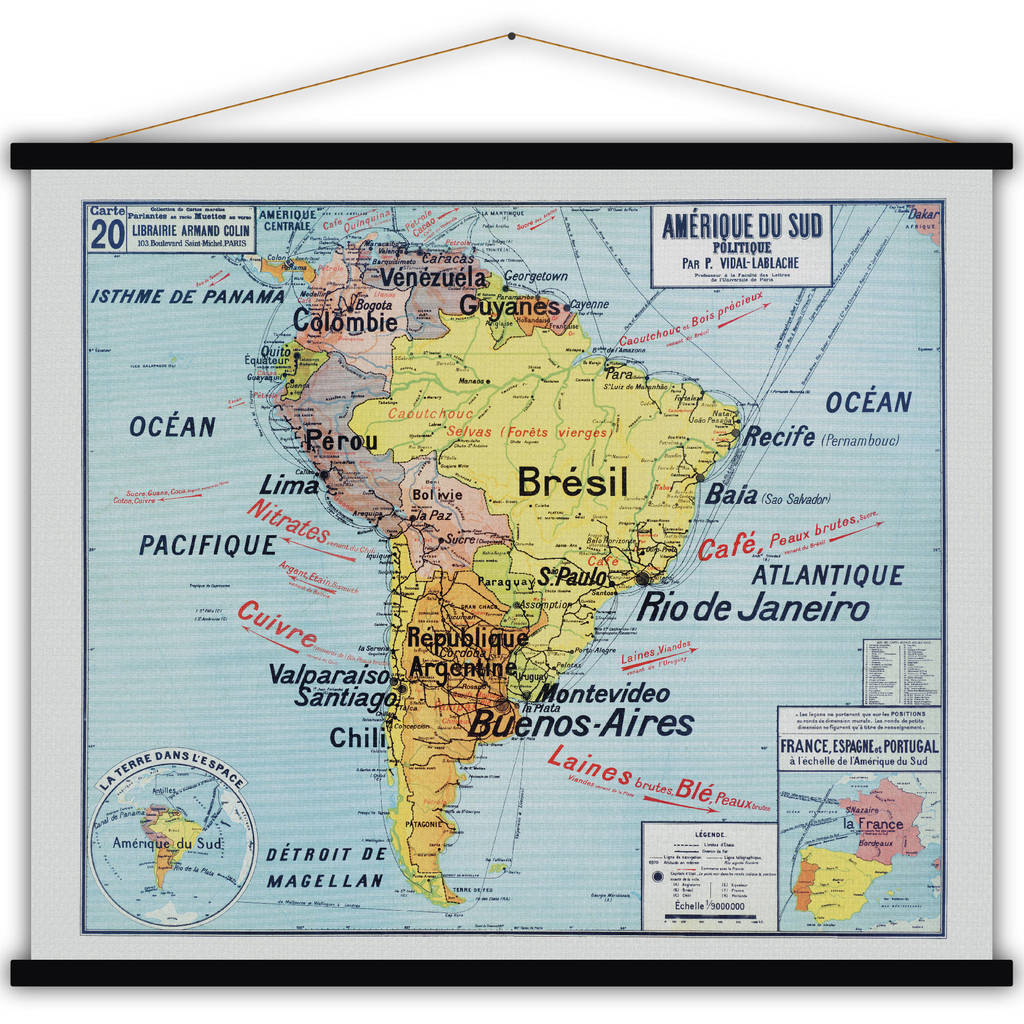 photograph relating to Printable Maps of South America titled French Cotton Map Print Of South The united states
