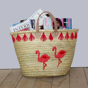 Flamingo Embroidered Basket