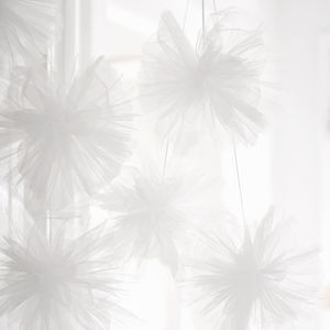 White Tulle Pom Poms - room decorations